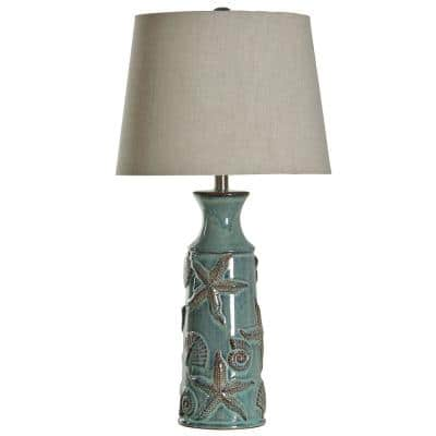 29 in. Blue Bay Table Lamp with Coastal Starfish and Shells