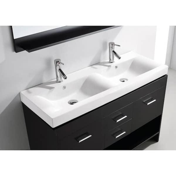 Virtu Usa Gloria 48 In W Bath Vanity, Double Porcelain Bathroom Sink