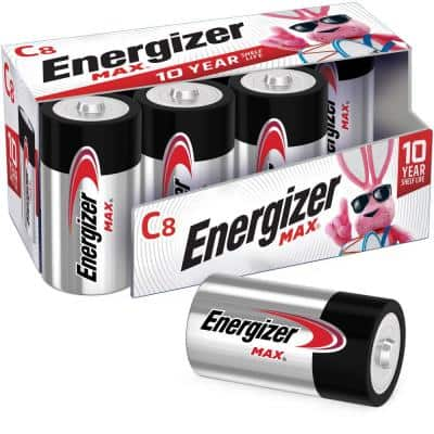 MAX C Batteries (8 Pack), C Cell Alkaline Batteries