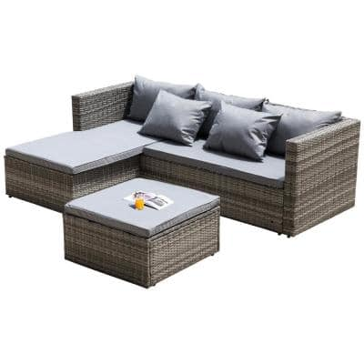 Wicker Charcoal Outdoor Patio Garden Contemporary Sectional Sofa and Ottoman/Coffee Table with Gray Cushion