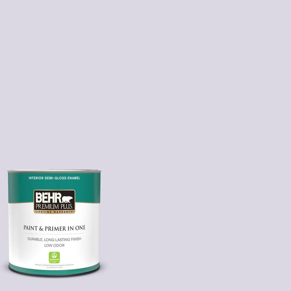 Behr Premium Plus 1 Qt S570 1 Misty Lavender Semi Gloss Enamel Low Odor Interior Paint And Primer In One 305004 The Home Depot