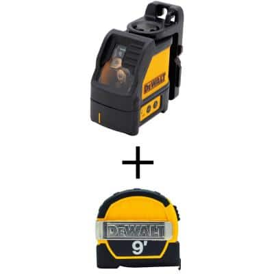 165 ft. Red Self-Leveling Cross-Line Laser Level with 9 ft. x 1/2 in. Pocket Tape Measure with Magnetic Back