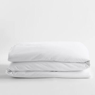 White Solid Bamboo Cotton Sateen Full Duvet Cover