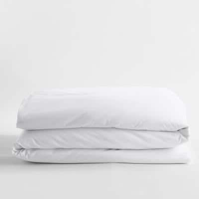 White Solid Bamboo Cotton Sateen Queen Duvet Cover