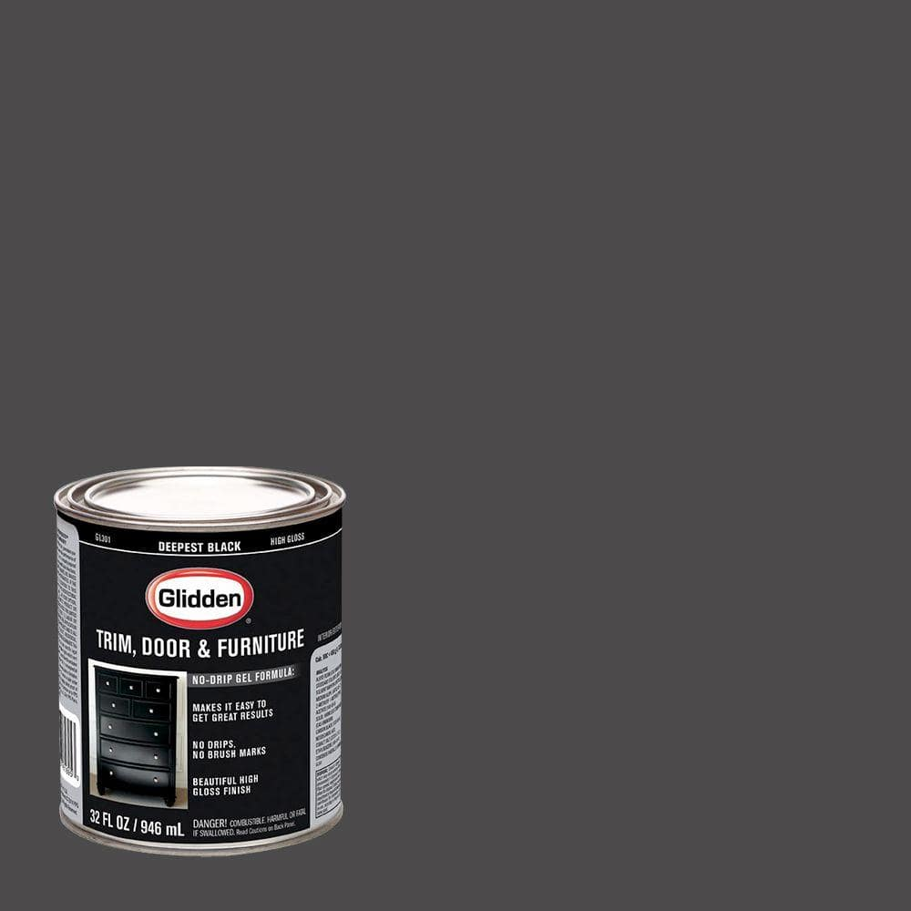 Glidden Trim and Door 1 qt. Deepest Black Gloss Interior/Exterior Oil Paint