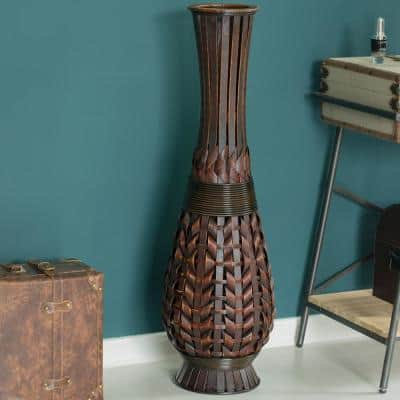 36 in. Tall Bamboo Brown Antique Trumpet Style Floor Vase For Entryway or Living Room