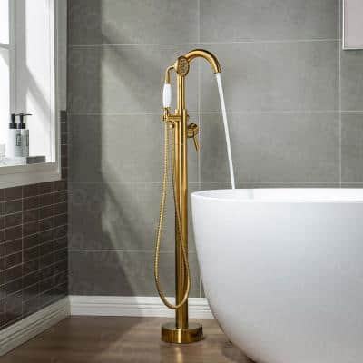 Everette Single-Handle Freestanding Tub Faucet with Hand Shower in Brushed Gold
