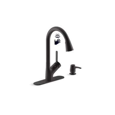 Setra Single-Handle Touchless Pull-Down Sprayer Kitchen Faucet in Matte Black