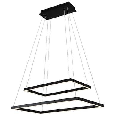 Atria Duo Rectangular 74-Watt Black Integrated LED Chandelier