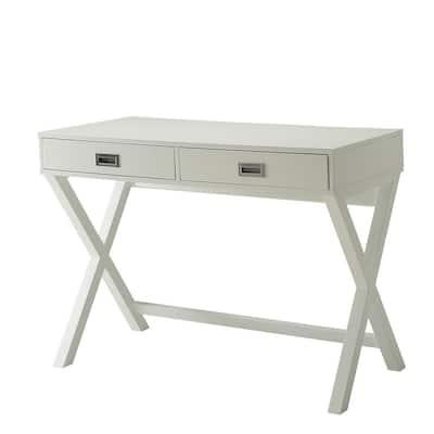 39.75 in. White Rectangular 2 -Drawer Writing Desk with X-designed Frame