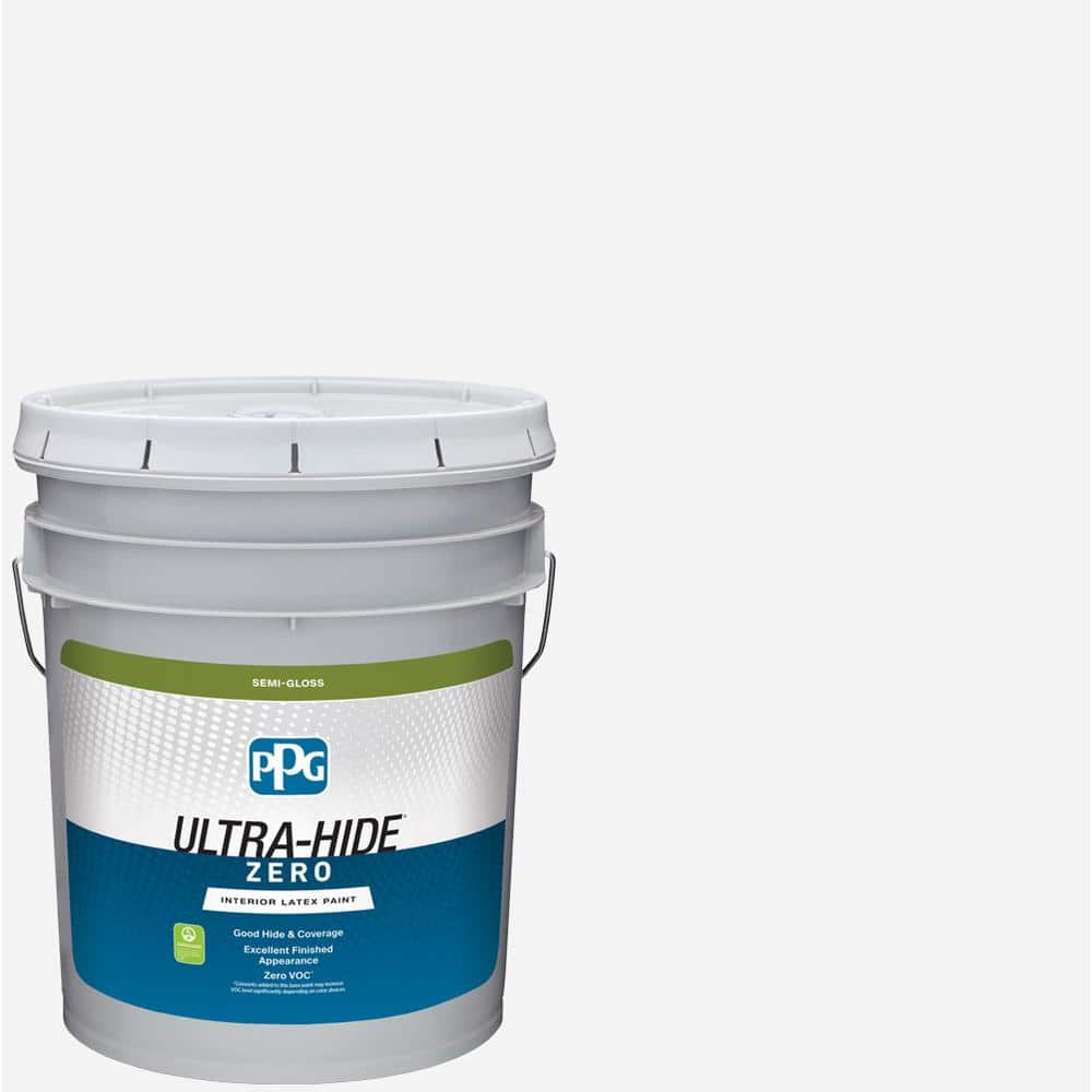 Ppg Ultra Hide Zero 5 Gal Pure White Base 1 Semi Gloss Interior Paint 1600 0100 05 The Home Depot