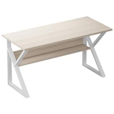47.2 in. Rectangle Beige Wood K Shaped Computer Gaming Desks Gamer Table with Storage Shelves
