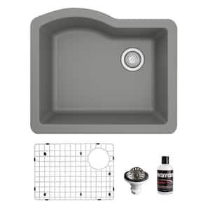 QU-671 Quartz/Granite 24 in. Single Bowl Undermount Kitchen Sink in Grey with Bottom Grid and Strainer
