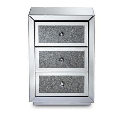 Talan 3-Drawer Mirrored and Sliver Nightstand 26 in. H x 18 in. W x 14 in. D