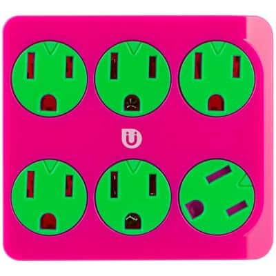 6 Grounded Outlet Tap, Pink and Green