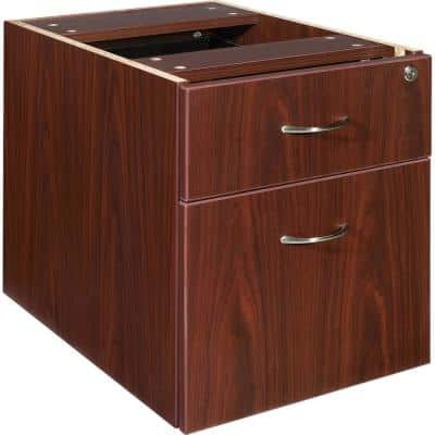 Essentials Mahogany with 2-Drawers and Double Pedestal Pedestal File Cabinet