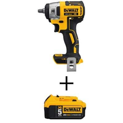 20-Volt MAX Lithium-Ion 3/8 in. Cordless Compact Impact Wrench with 20-Volt MAX XR Li-Ion (1) 5.0Ah Battery (Tool-Only)