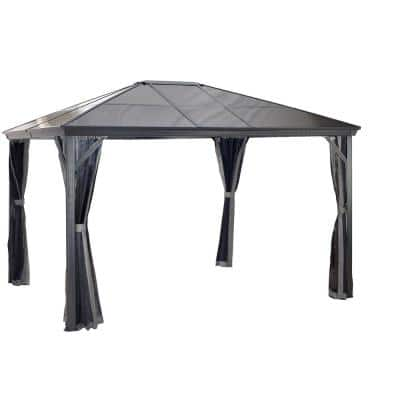 10 ft. D x 12 ft. W Verona Aluminum Gazebo in Dark Gray with 2-Track System, UV-Protected Roof, and Mosquito Netting