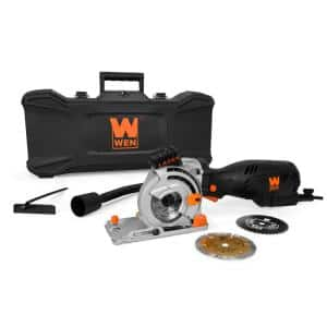 5 Amp 3-1/2 in. Plunge Cut Compact Circular Saw with Laser, Carrying Case and 3-Blades