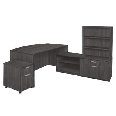 Magons 71 in. Ash Grey Hi-Low Bow Front L-Desk with Open Hutch and Single Mobile Pedestal