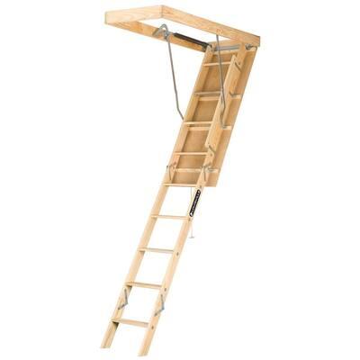 Premium Series 8 ft. - 10 ft., 22.5 in. x 54 in. Wood Attic Ladder with 250 lb. Maximum Load Capacity