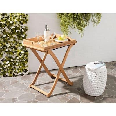 Covina Teak Brown Wood Patio Tray Table