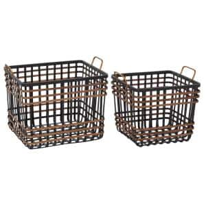 Medium Rectangular Black Bamboo And Antique Gold Metal Basket With Handles, Set Of 2: 14in , 24in