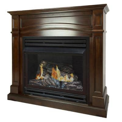 32,000 BTU 46 in. Full Size Ventless Natural Gas Fireplace in Cherry
