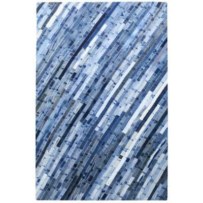 Denim Blue Jeans Repurposed 4 ft. x 6 ft. Area Rug