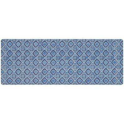 Micro Elegance Indigo Clover 18 in. x 48 in. Kitchen Mat