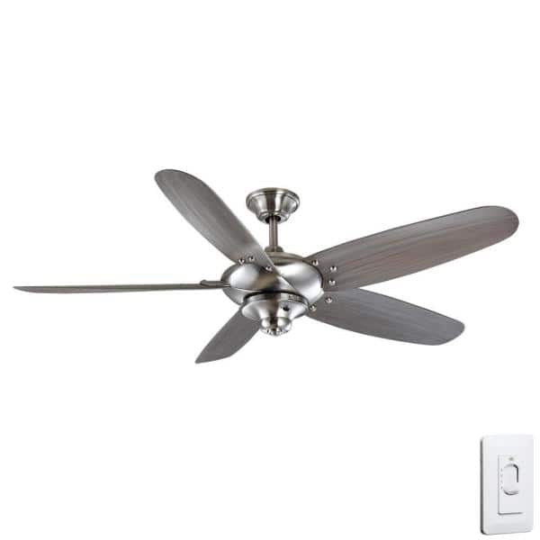 Home Decorators Collection Altura 60 In Indoor Outdoor Brushed Nickel Wet Rated Ceiling Fan With 5 Abs Blades And Wall Control 68260 The Home Depot
