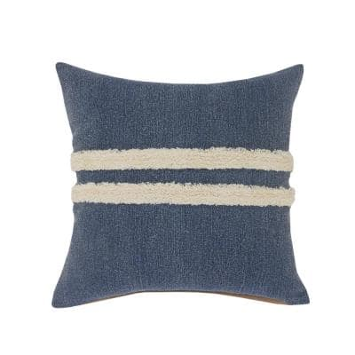 Double Blue / White Center Striped Tufted Poly-Fill 20 in. x 20 in. Throw Pillow