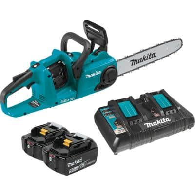 14 in. 18-Volt X2 (36-Volt) LXT Lithium-Ion Brushless Cordless Rear Handle Chain Saw Kit w/ (2) Batteries 5.0Ah, Charger