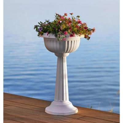 Grecian 32 in. Casper White Plastic Urn Tall Pedestal Planter