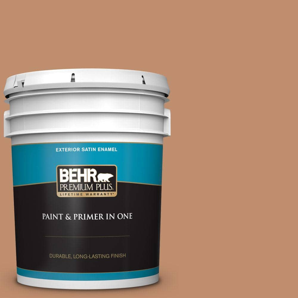 Behr Premium Plus 5 Gal 260f 5 Applesauce Cake Satin Enamel Exterior Paint And Primer In One 940005 The Home Depot