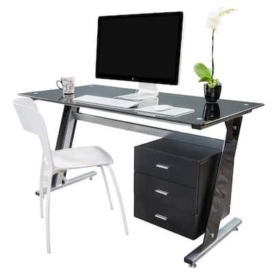 55 in. Rectangular Black 3 Drawer Computer Desk with Built-In Storage
