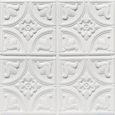 Tiny Tulips 2 ft. x 2 ft. Glue Up PVC Ceiling Tile in White Matte (100 sq. ft./case)