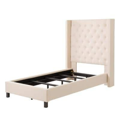 Fairfield Cream Tufted Fabric Twin/Single Bed with Wings