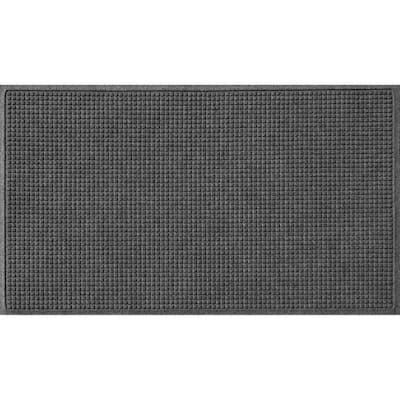 Aqua Shield Squares 35 in. x 59 in. PET Polyester Doormat Charcoal