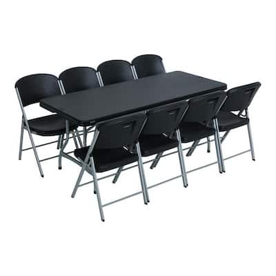 9-Piece Black Stackable Folding Table Set