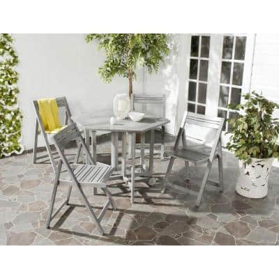 Kerman Gray Wash 5-Piece Wood Outdoor Dining Set