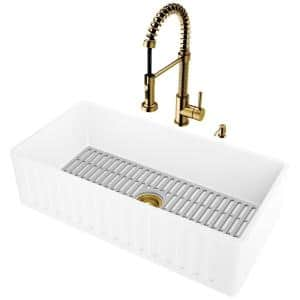 Matte Stone White Composite 36 in. Single Bowl Slotted Farmhouse Kitchen Sink with Faucet in Matte Gold and Accessories