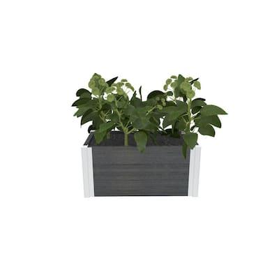Urbana 12 in. x 24 in. Slate Gray Composite Cube Planter