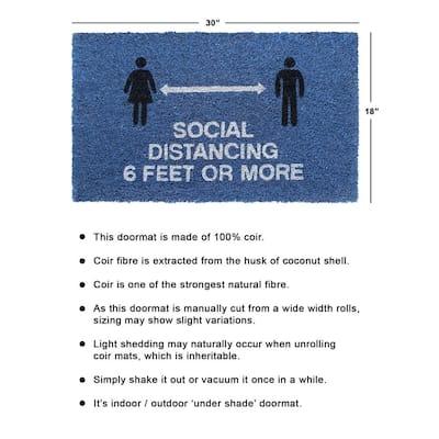 Blue 18 in. x 30 in. Social Distancing 6 Feet or more Door Mat