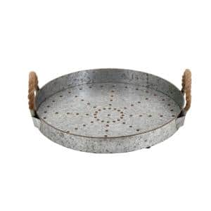 Farmhouse Rustic Gray Serving Tray with Rope Handles