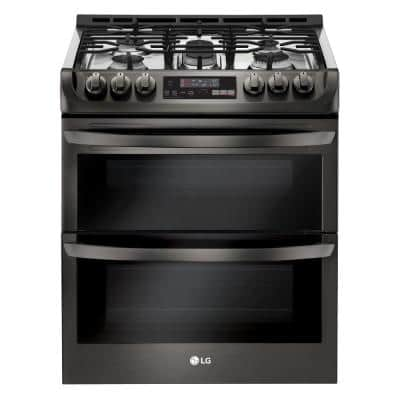 6.9 cu. ft. Smart Double Oven Slide-In Gas Range with ProBake Convection & EasyClean in Black Stainless Steel