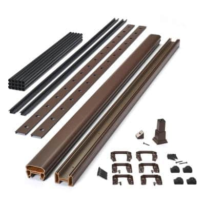 Trex 8 ft. x 42 in. Transcend Vintage Lantern Composite Rail Kit in with Black Round Aluminum Balusters-Horizontal