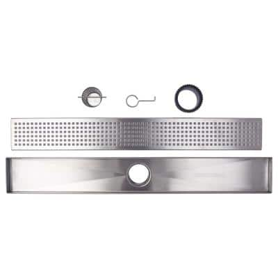 60 in. Stainless Steel Linear Shower Drain - Square Hole Pattern with Hair Strainer and Height Adjuster