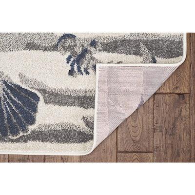Lucia Ivory Seashore 2 ft. x 4 ft.. Indoor/Outdoor Accent Rug