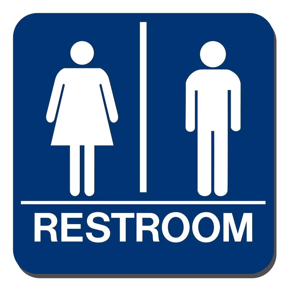 Lynch Sign 8 In X 8 In Blue Plastic With Braille Restroom Sign Uni 18 The Home Depot